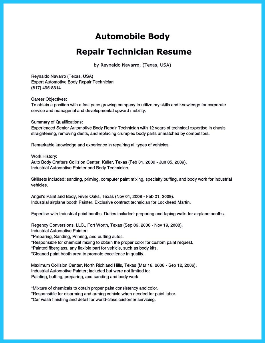 auto body resume objective examples