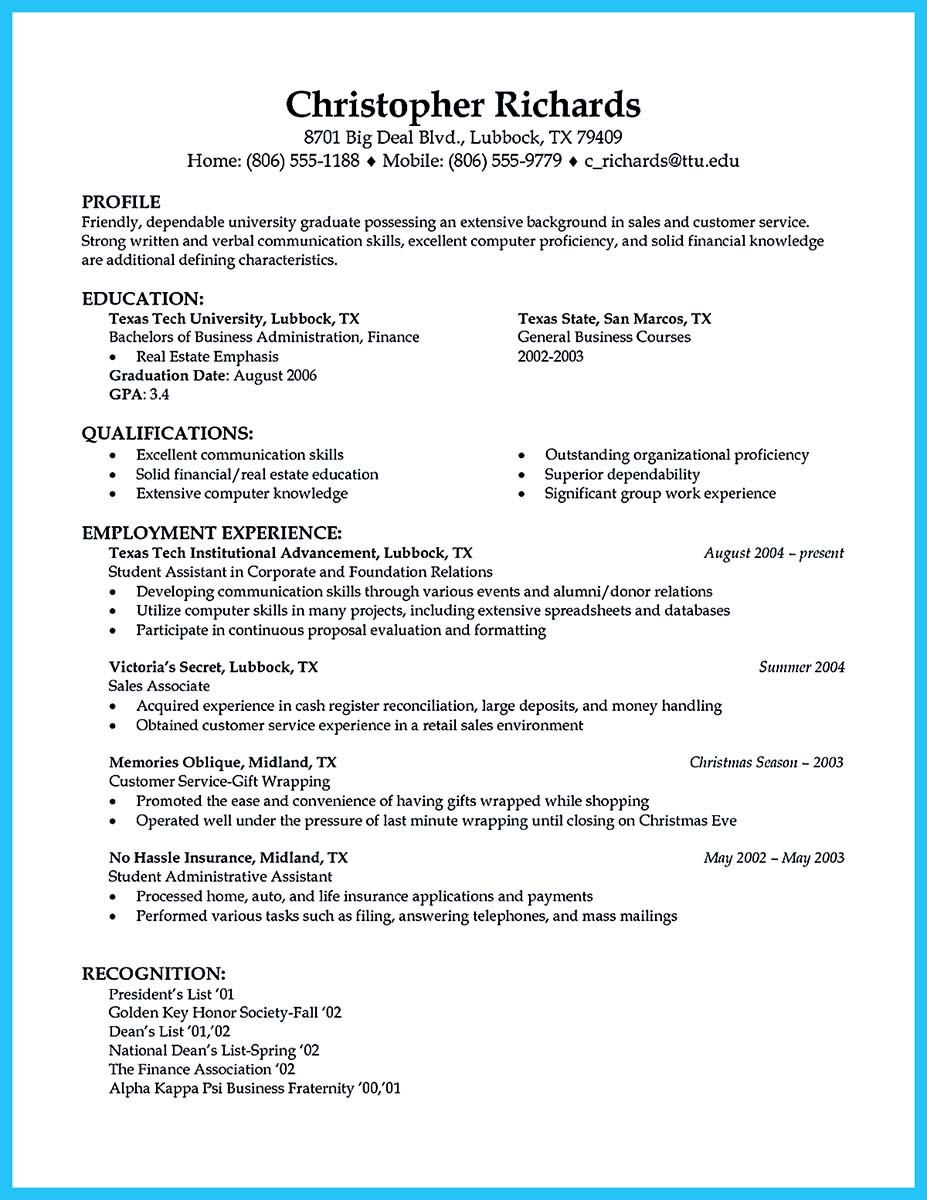 what to write in a resume profile