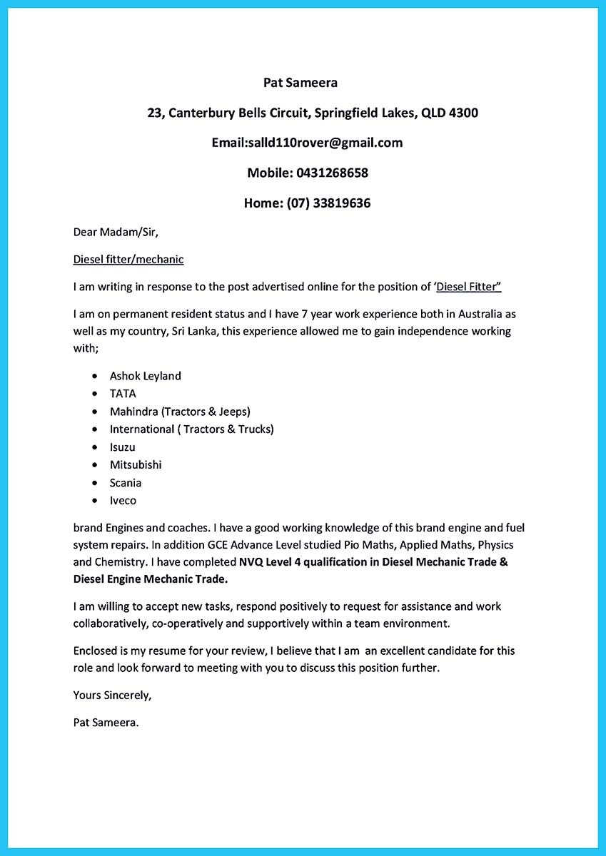 Apprentice automotive technician cover letter  Experienced Covers Mail Local building company