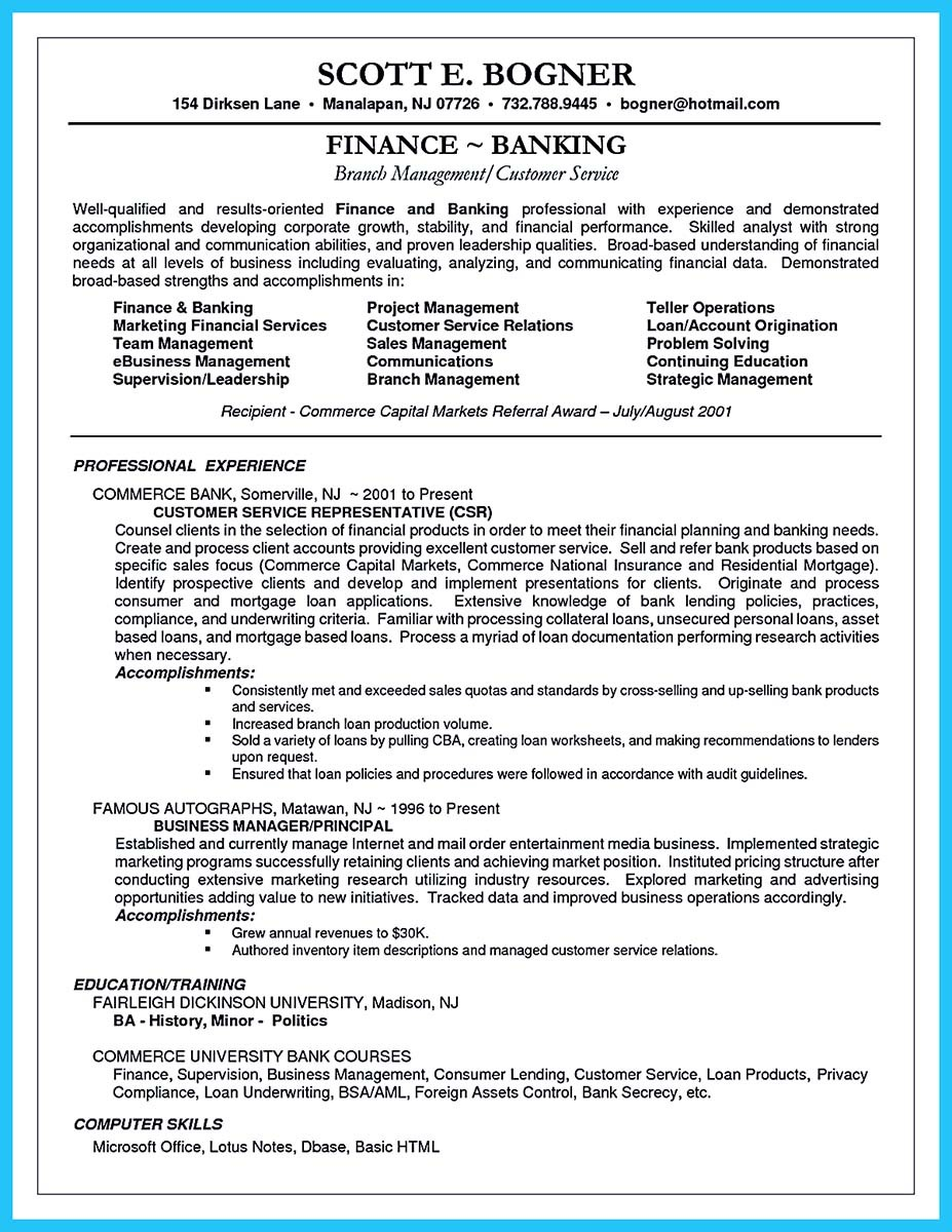 resume headline examples for banking