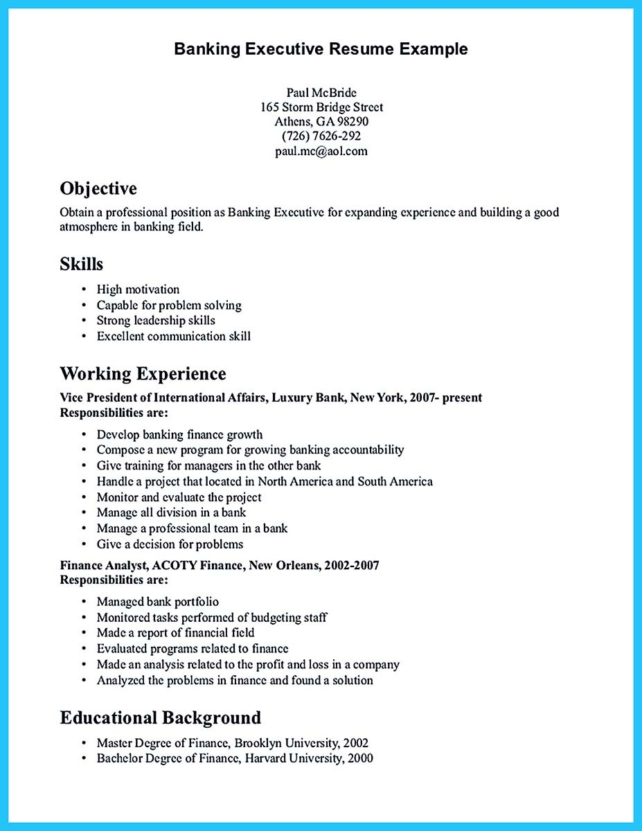 sample career objective for bank job resume