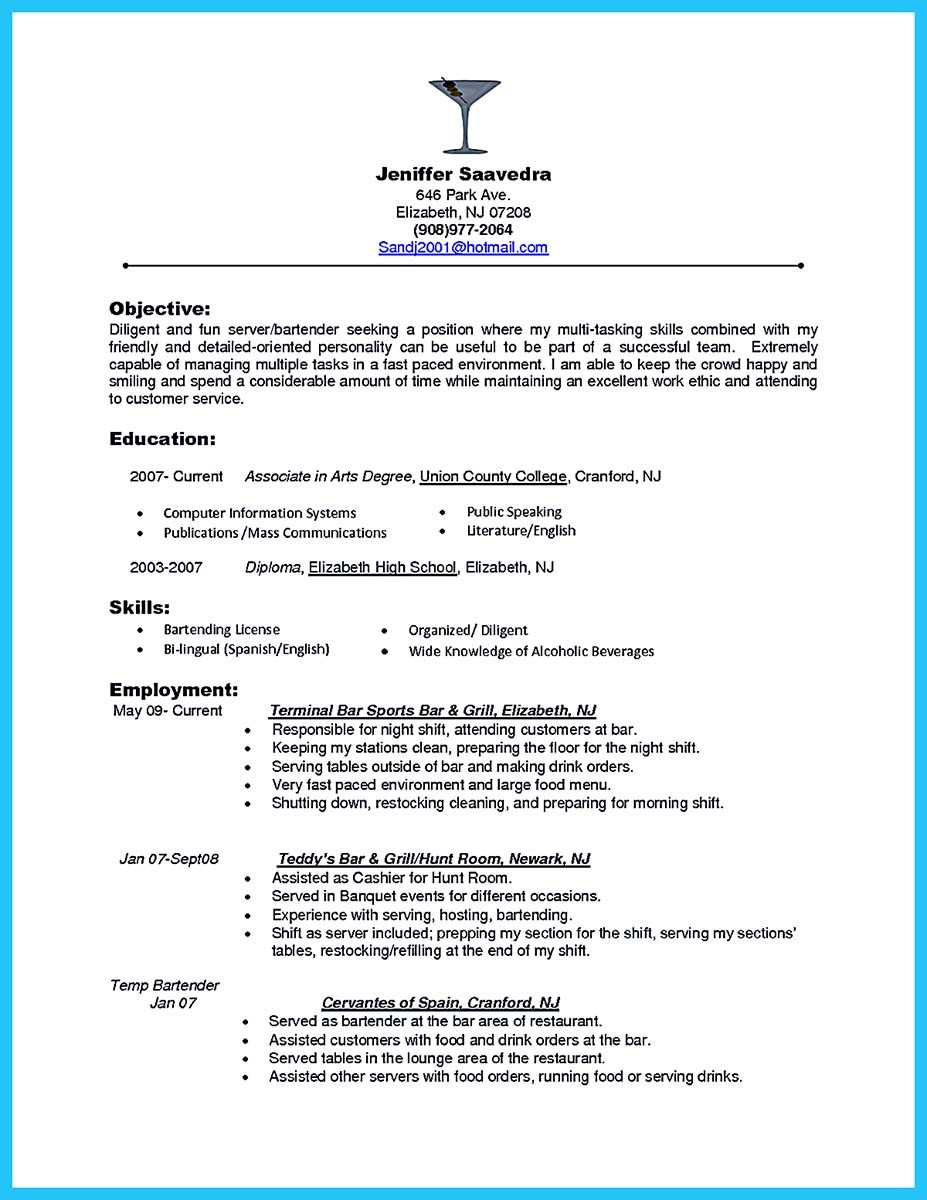 bar server job description for resume