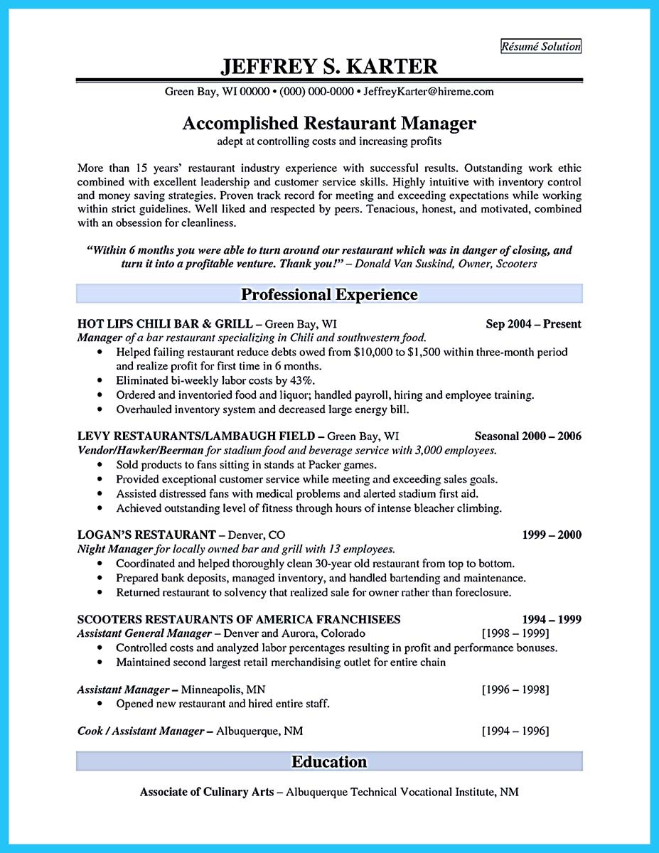 Brilliant Bar Manager Resume Tips To Grab The Bar Manager Job