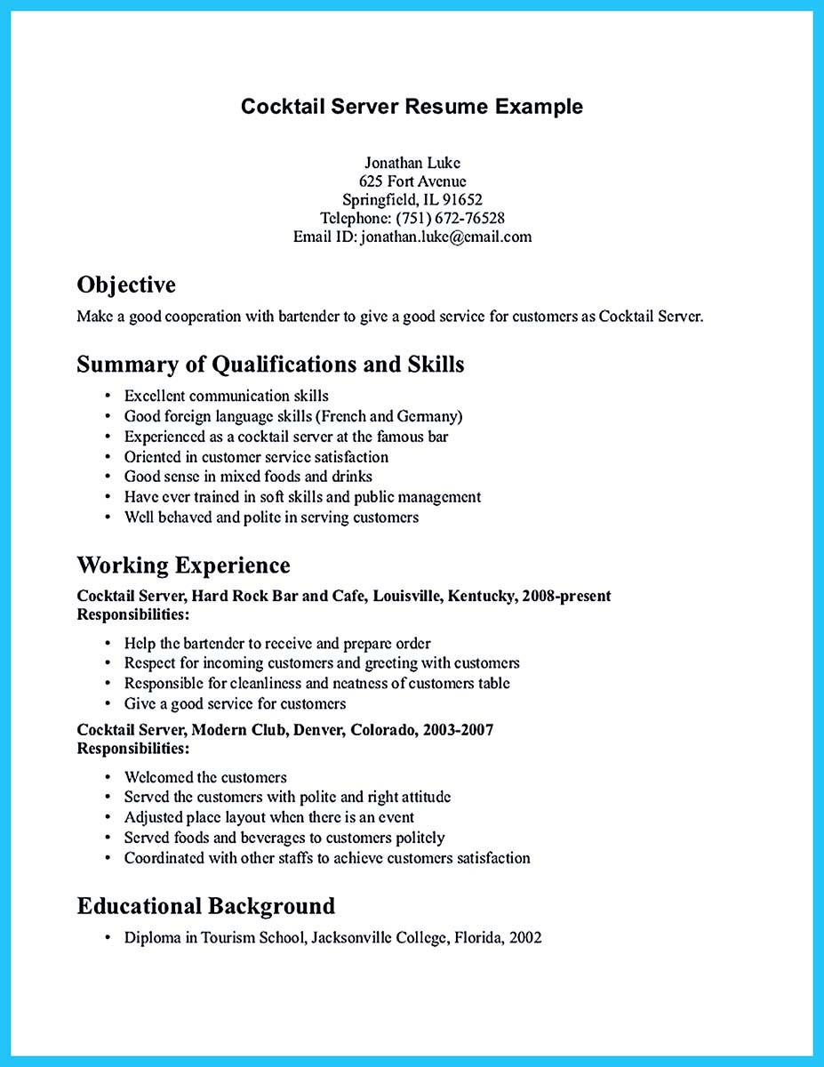Restaurant Bartender Resume Examples Builder Cover Letter Samples Career