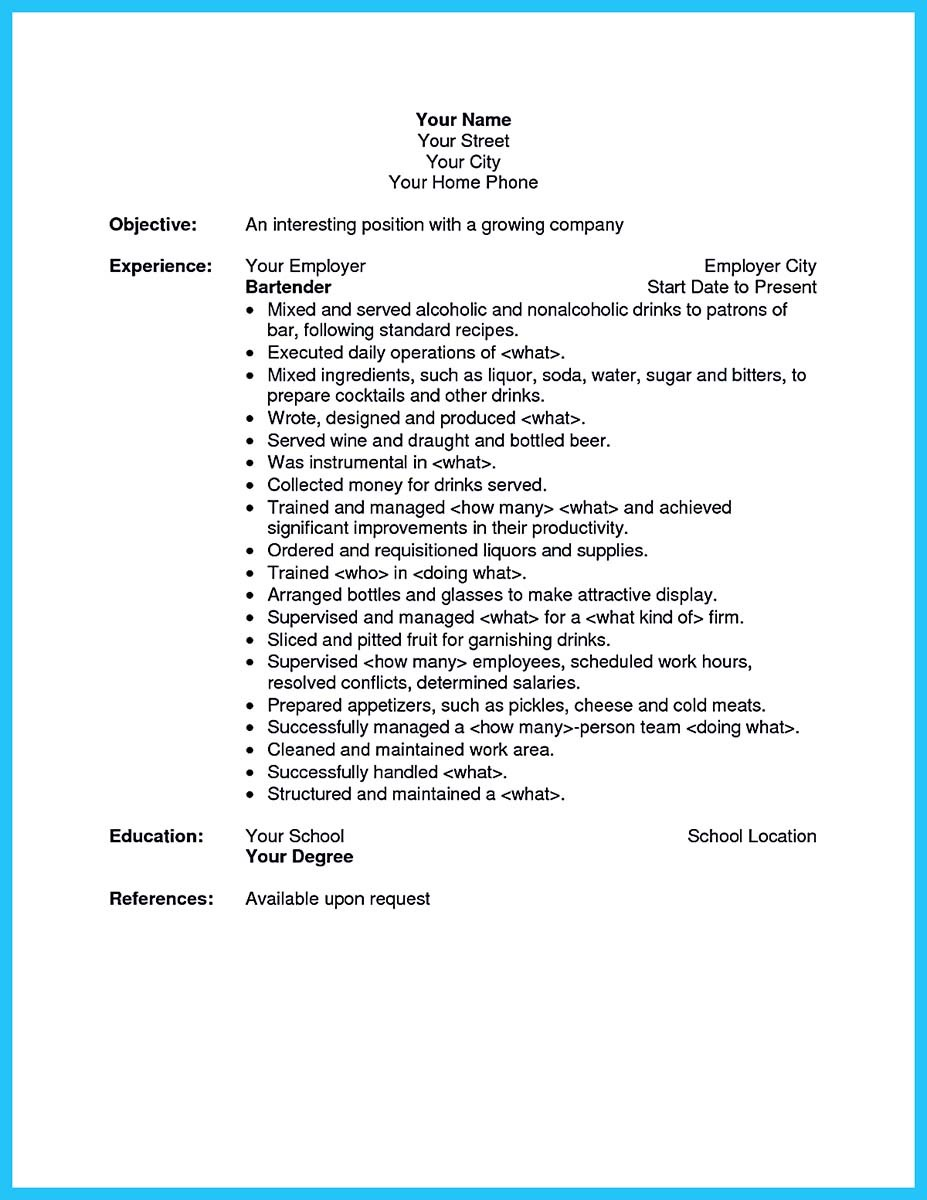 Impress The Recruiters With These Bartender Resume Skills  Bartender Skills Resume