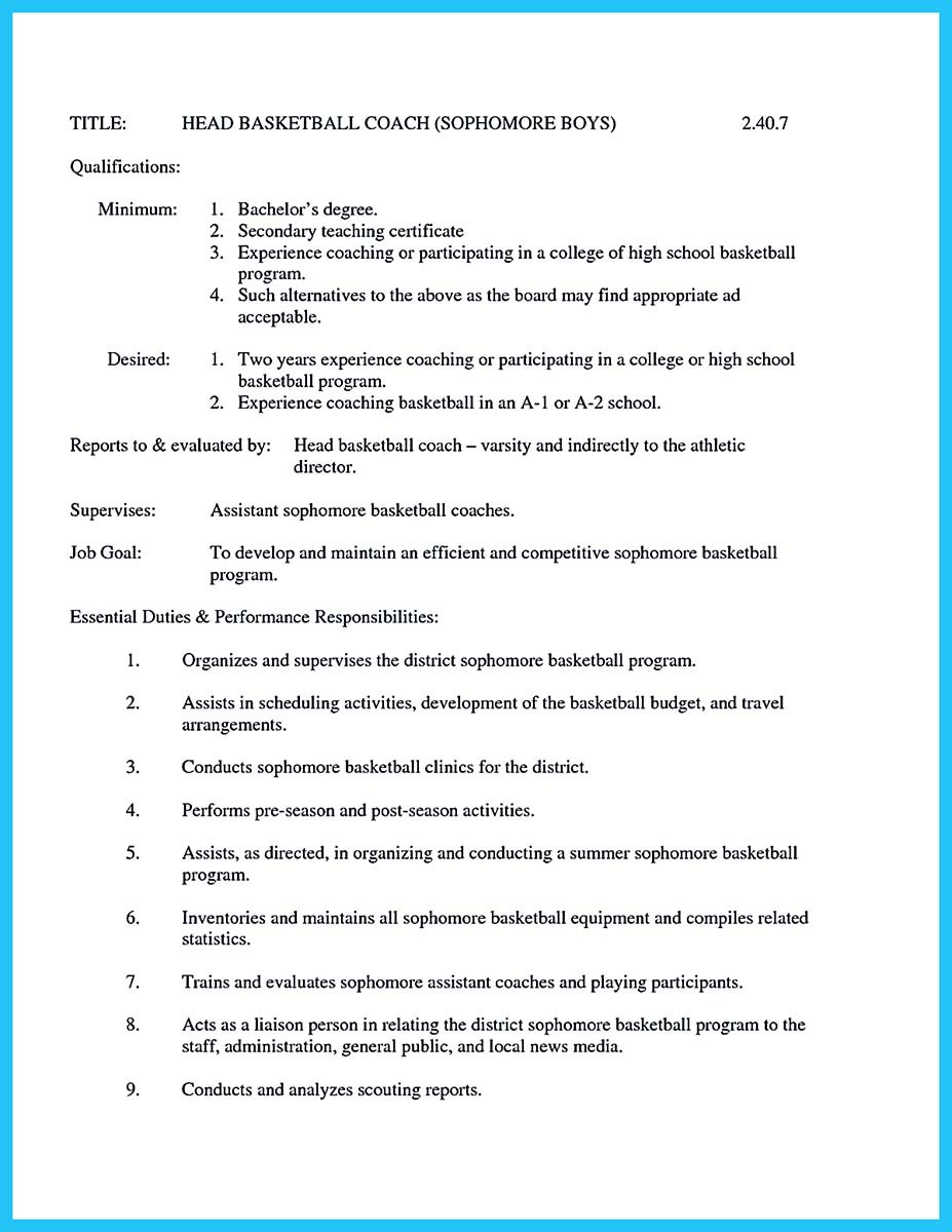 Volunteer Basketball Coach Resume Captivating Thing For Perfect And Acceptable Basketball Coach Resume