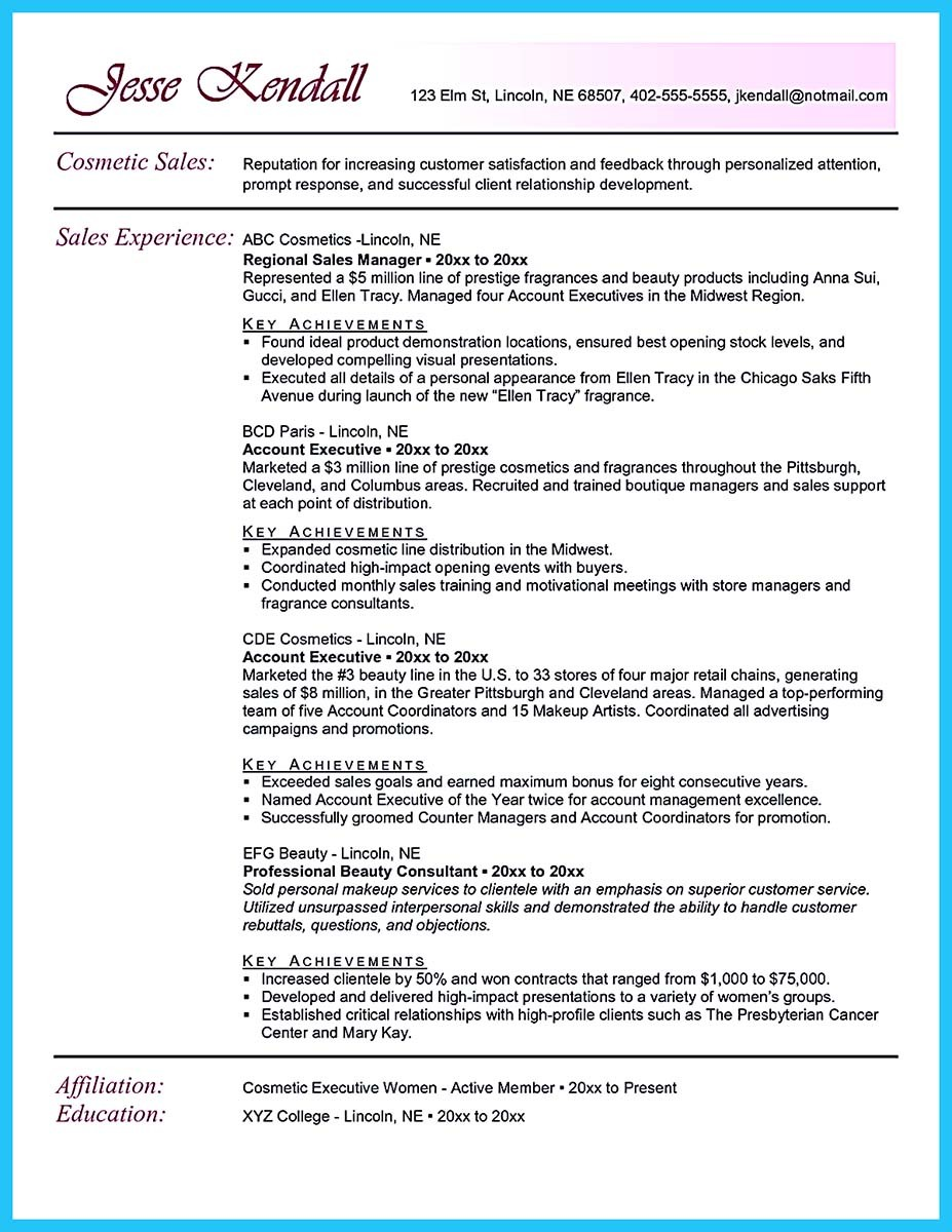 Cosmetic Resume Examples - Examples of Resumes