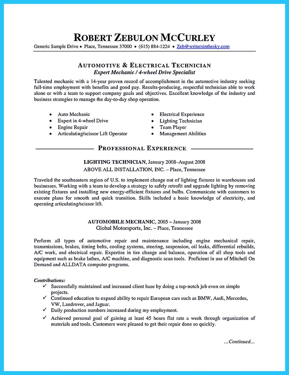 Examples Of Mechanic Resume Curriculum Vitae Cv Samples
