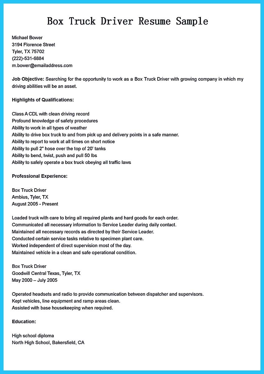 examples of objectives in resume for driver
