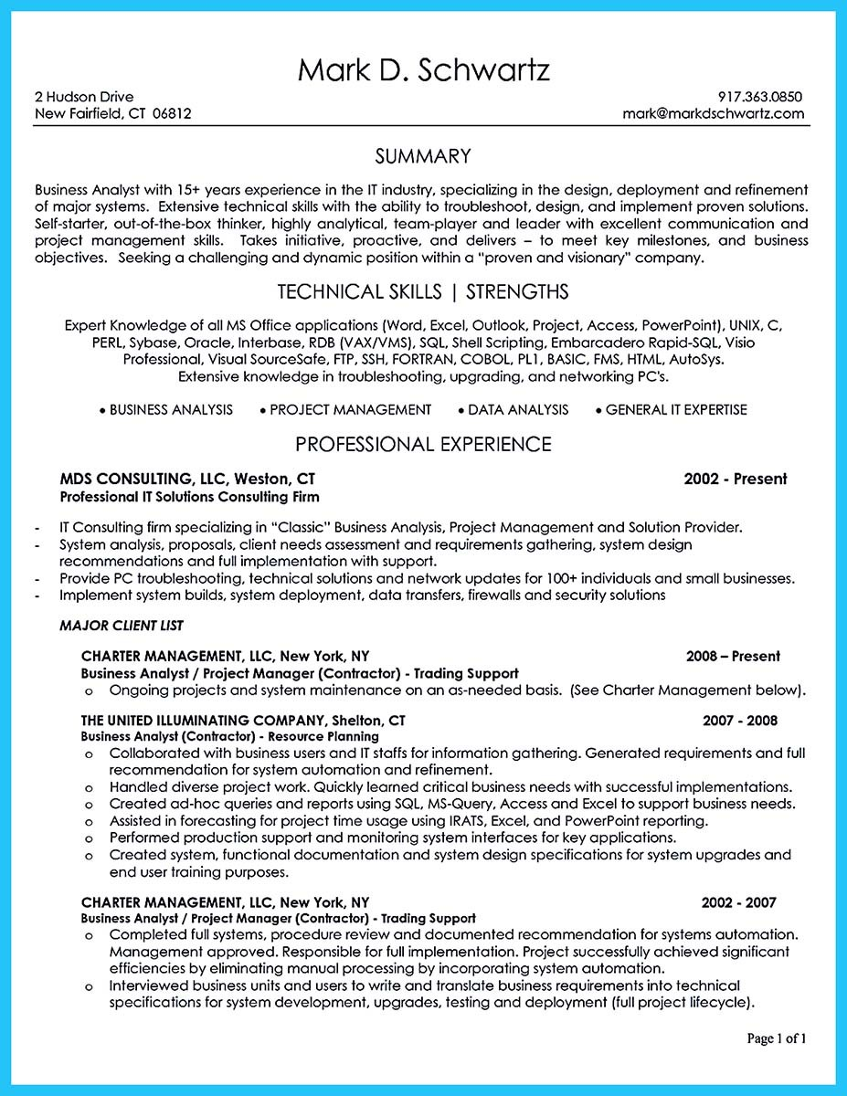 Create Your Astonishing Business Analyst Resume And Gain
