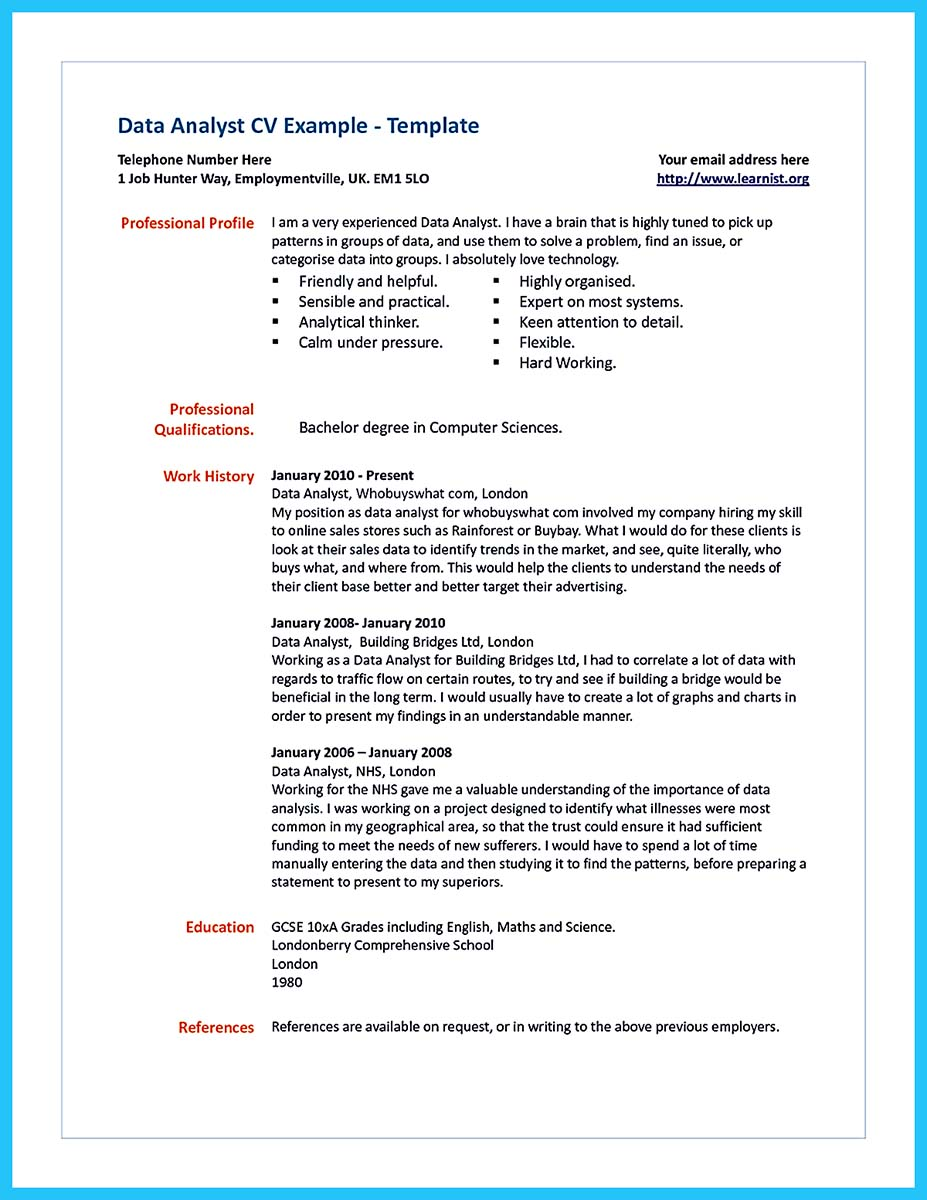 High Quality Data Analyst Resume Sample from Professionals