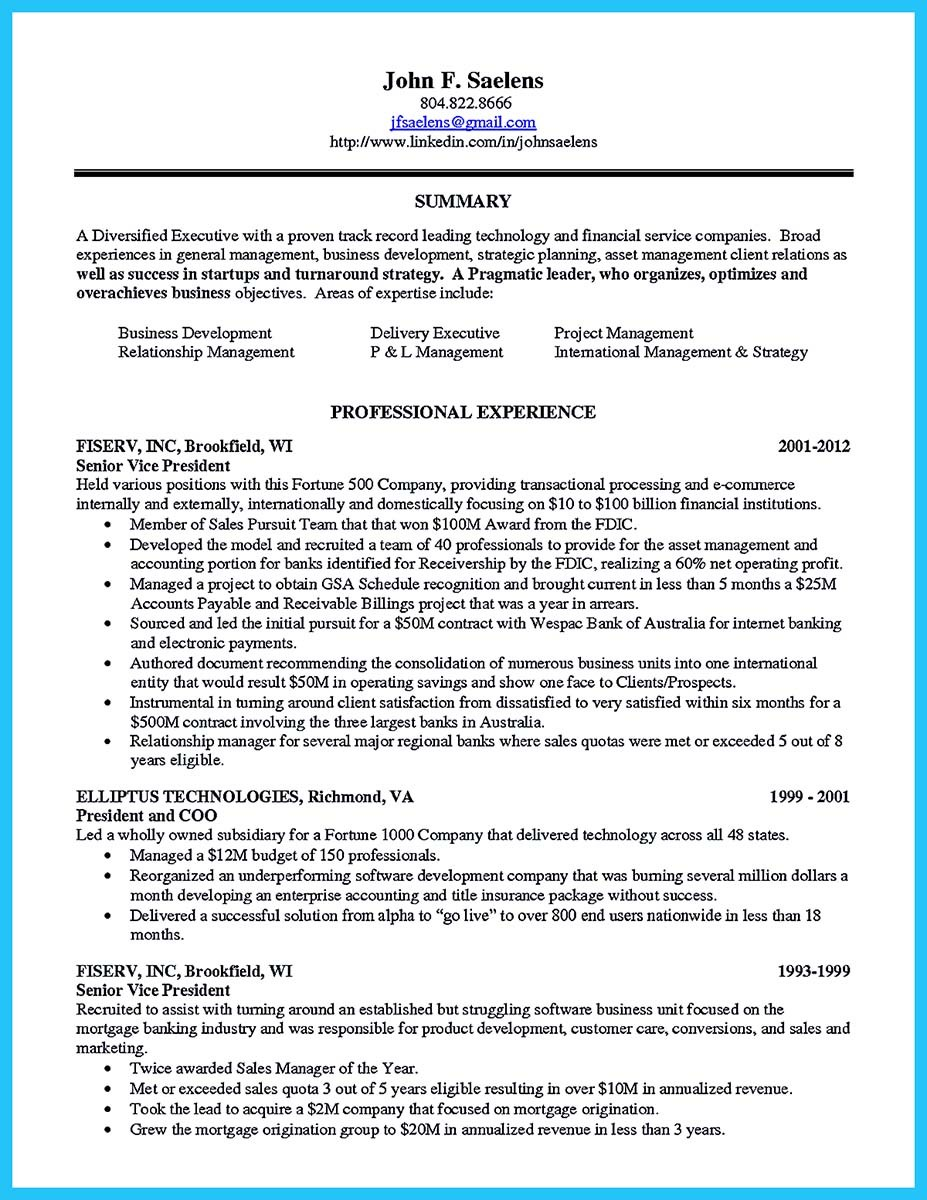 sample resume for business manager