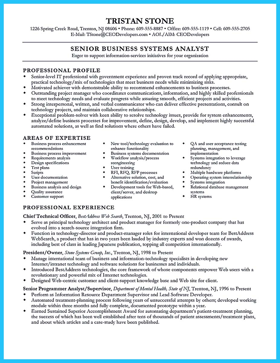 resume samples for business analyst
