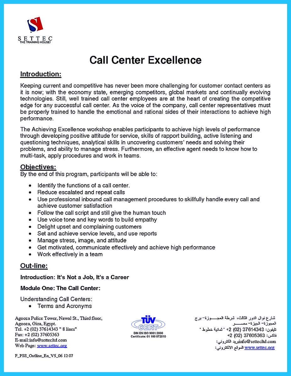 Call Center Resume Objective Examples