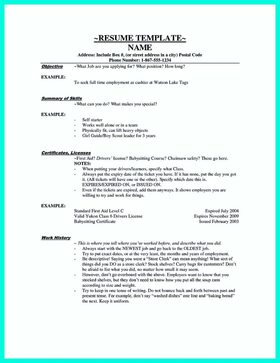 resume for a cashier example