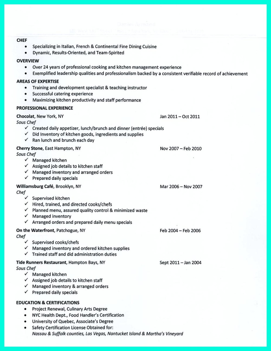 pastry chef resume example