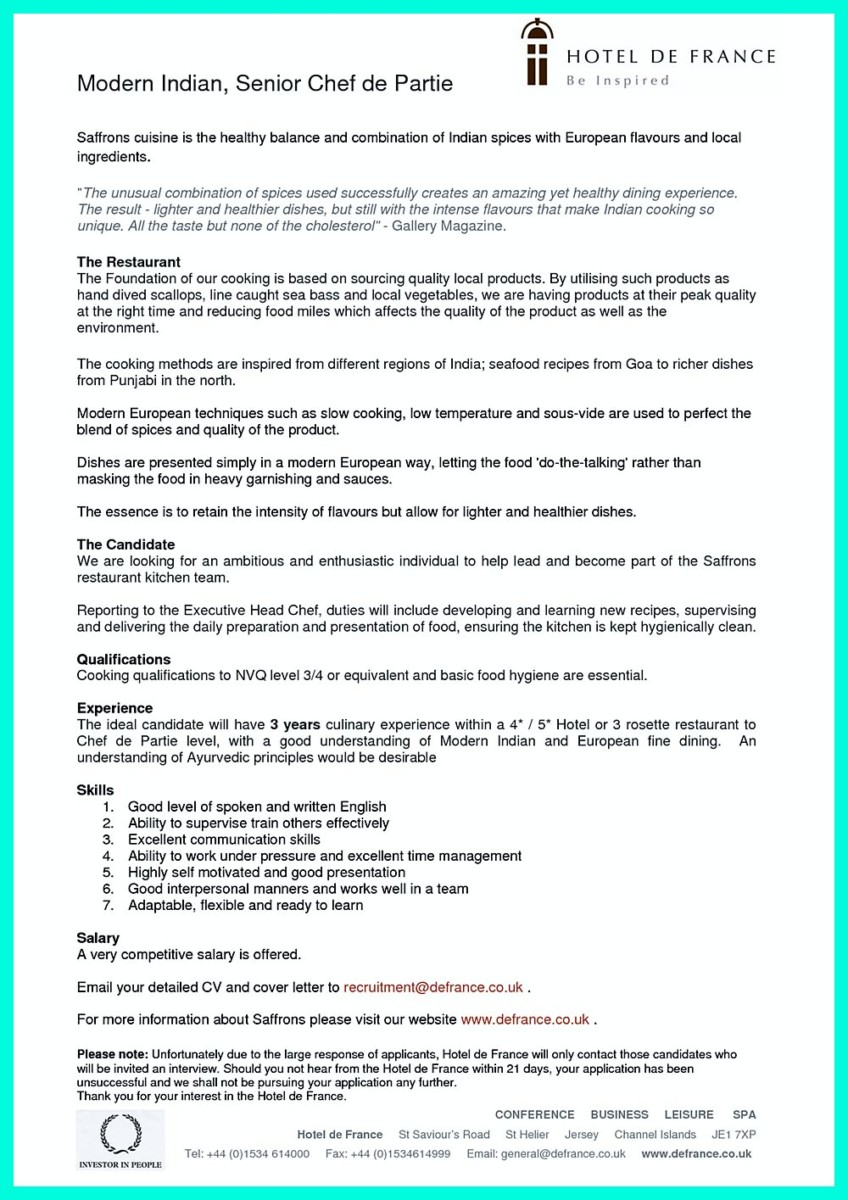 Chef Consultant Cover Letter Chef Resumes That Will Impress Your Future Company