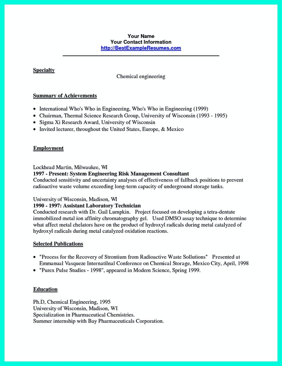 Chemical Engineer Resume Successful Objectives In Chemical Engineering Resume