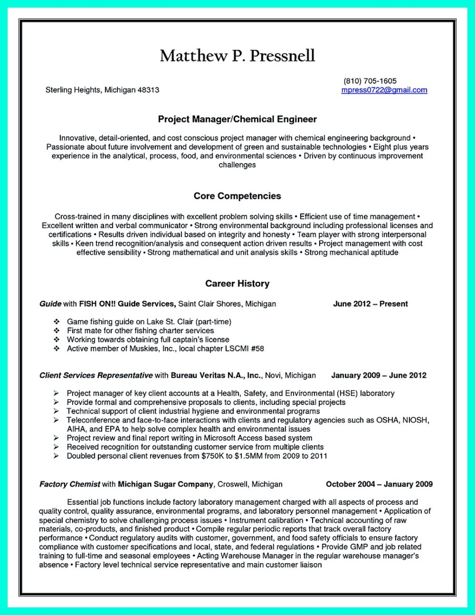 Successful Objectives in Chemical Engineering Resume