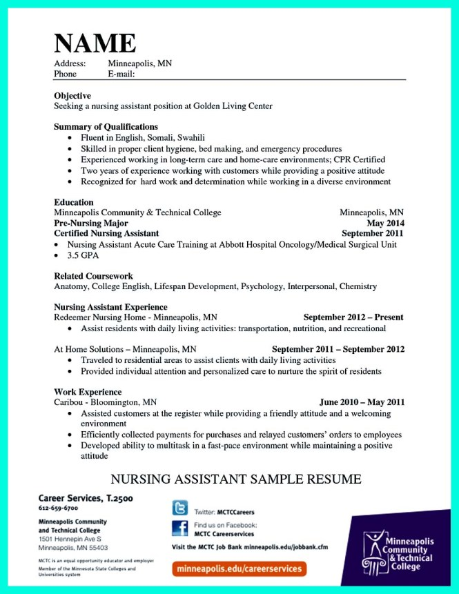 hospital cna resume resume sample
