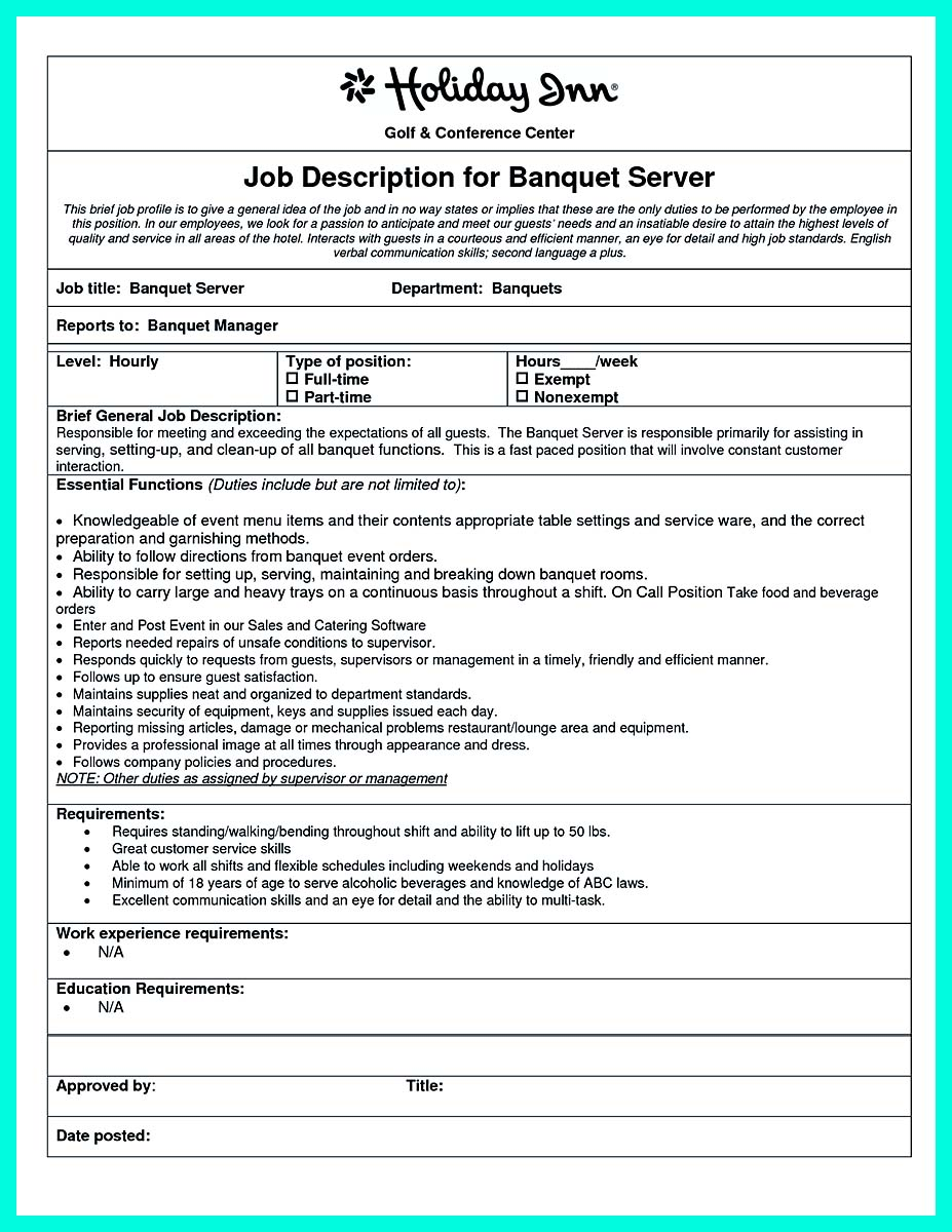 Cocktail Server Resume Skills To Convince Restaurants Or Café