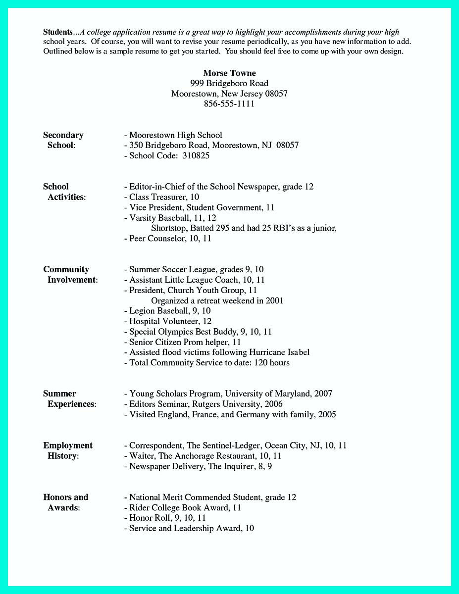 activities resume for college sample