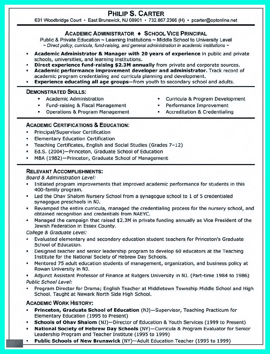 resume examples for masters application