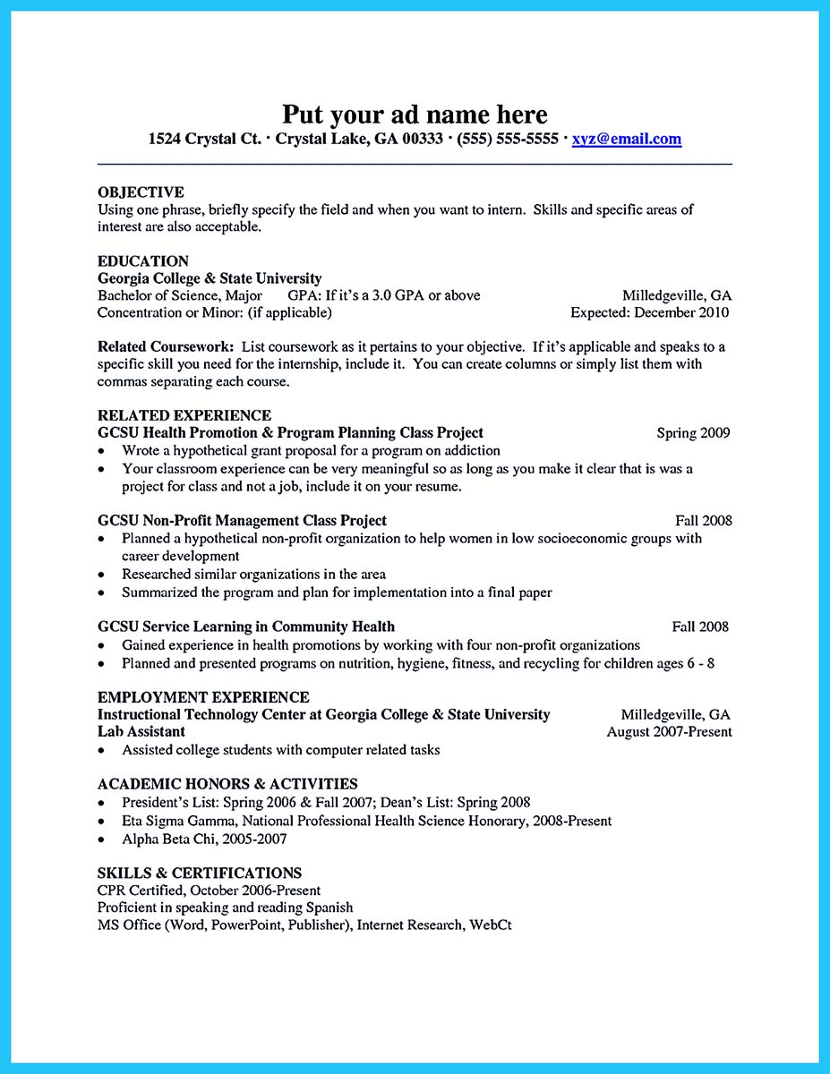 college resume requirements