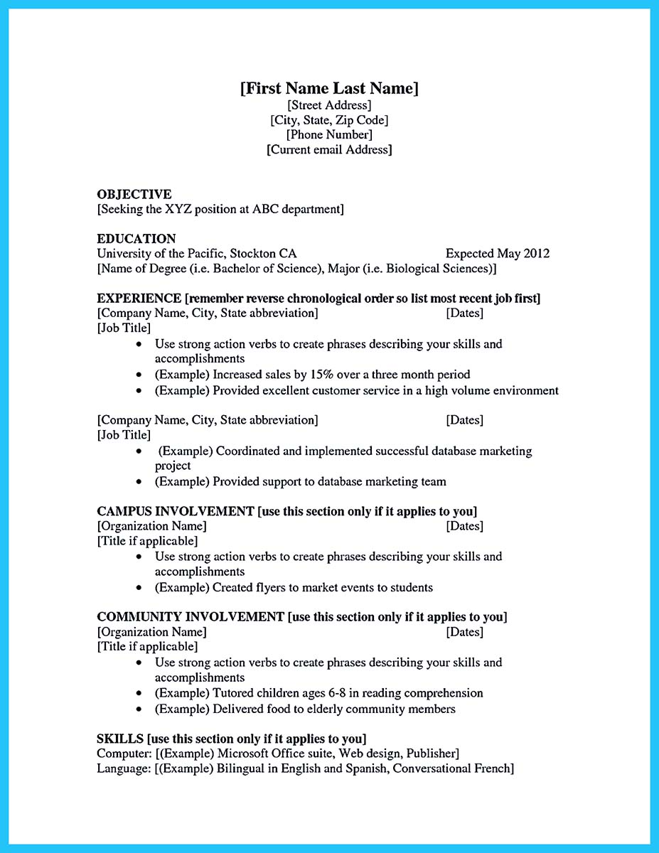 sample resume for a college student