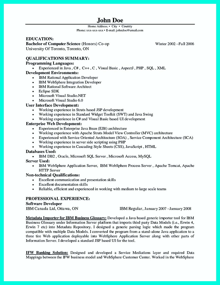 computer programmer resume examples to impress employers - Computer Science Resume Canada