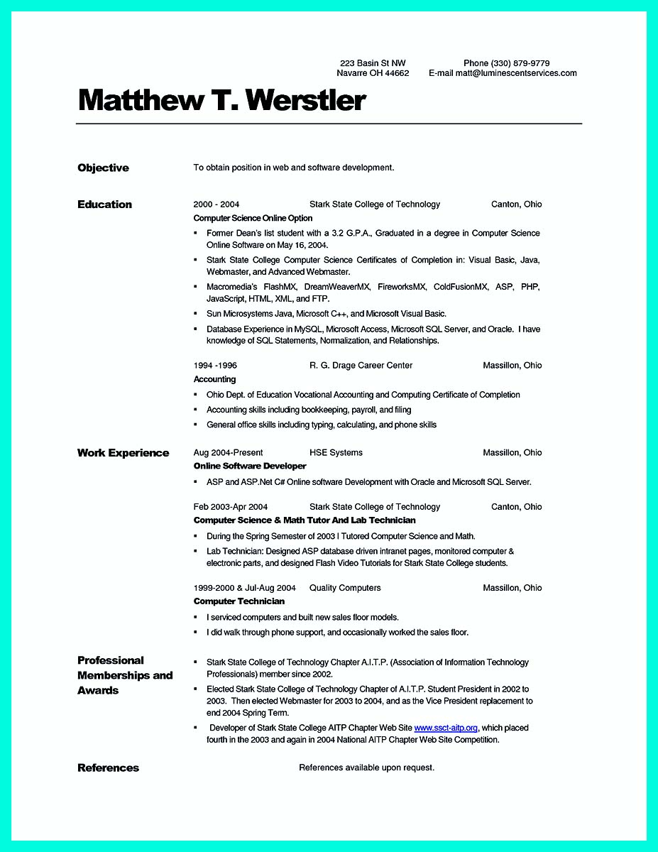 Sample cover letter for Internship position at Computer science