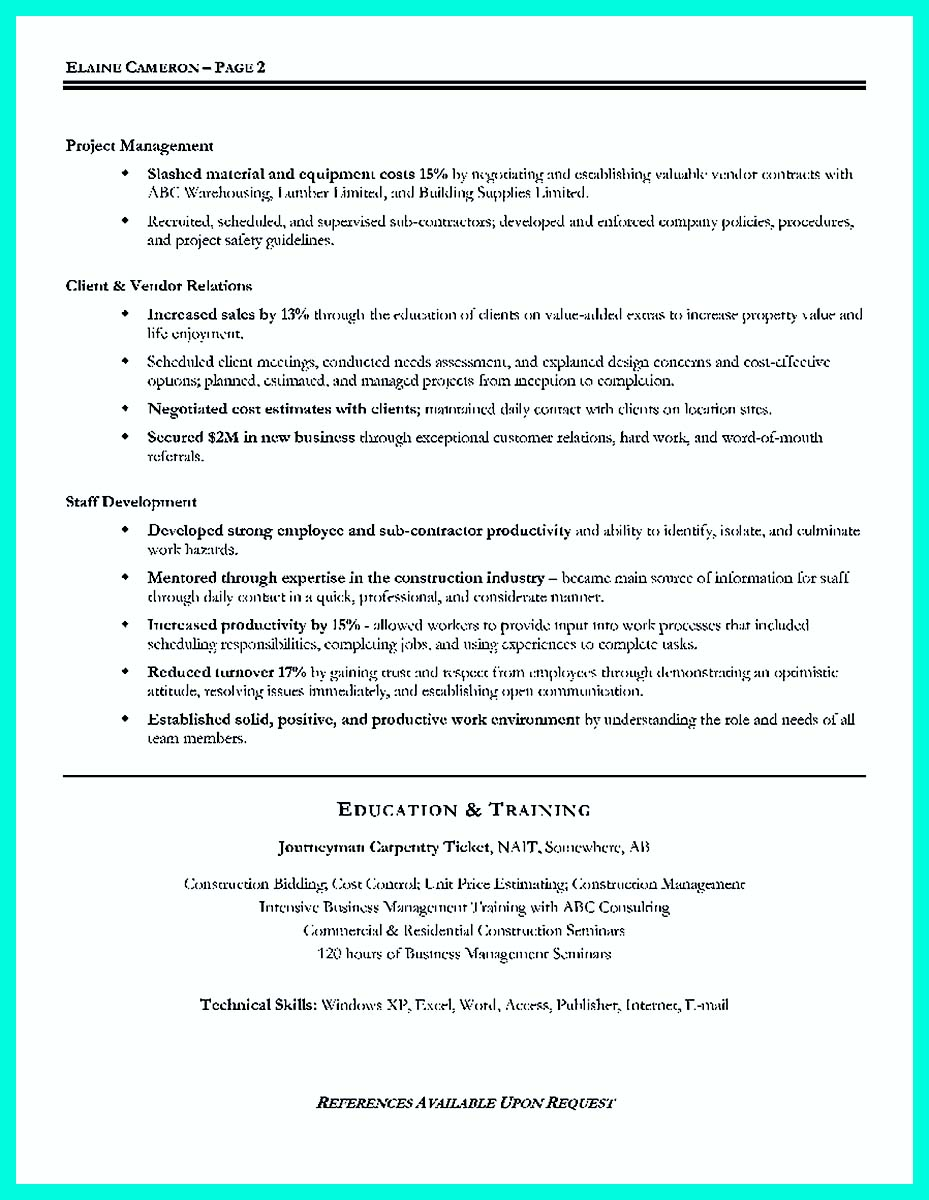 Examples Construction Management Resume Objective Samples