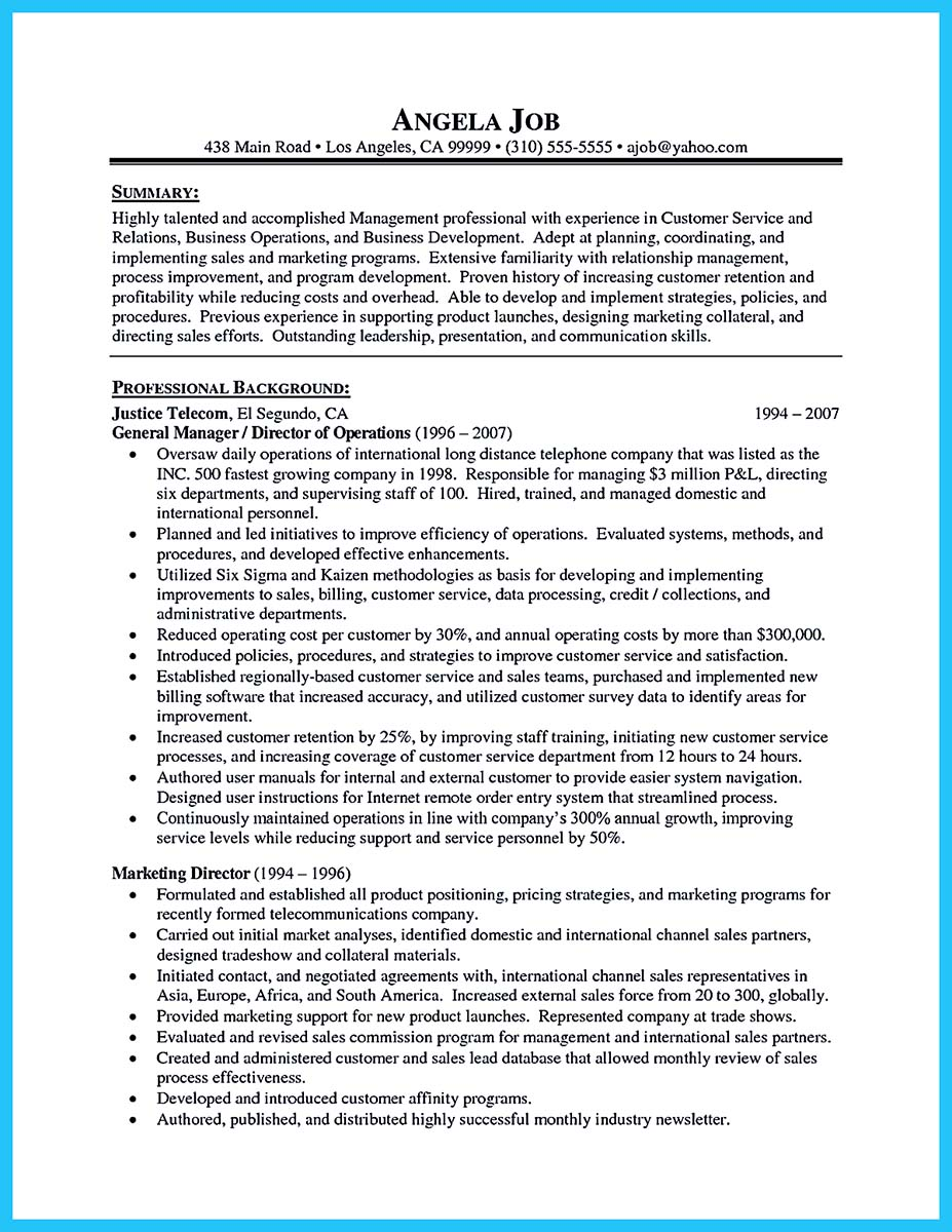 resume cover letter summary