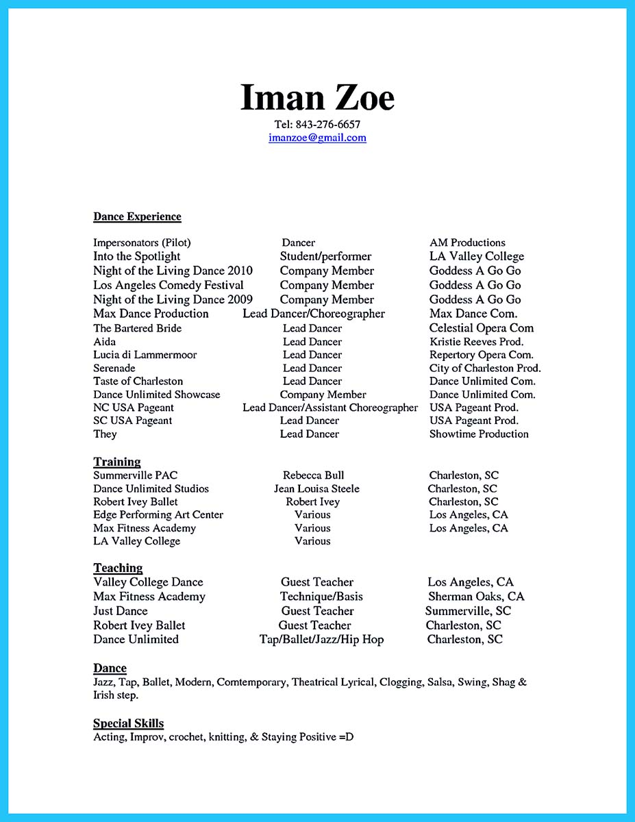 Dance Resume For College Audition  Resume Ideas