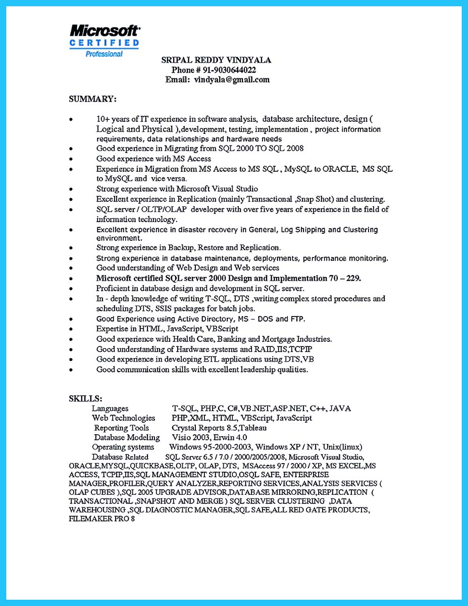 ms access resume examples