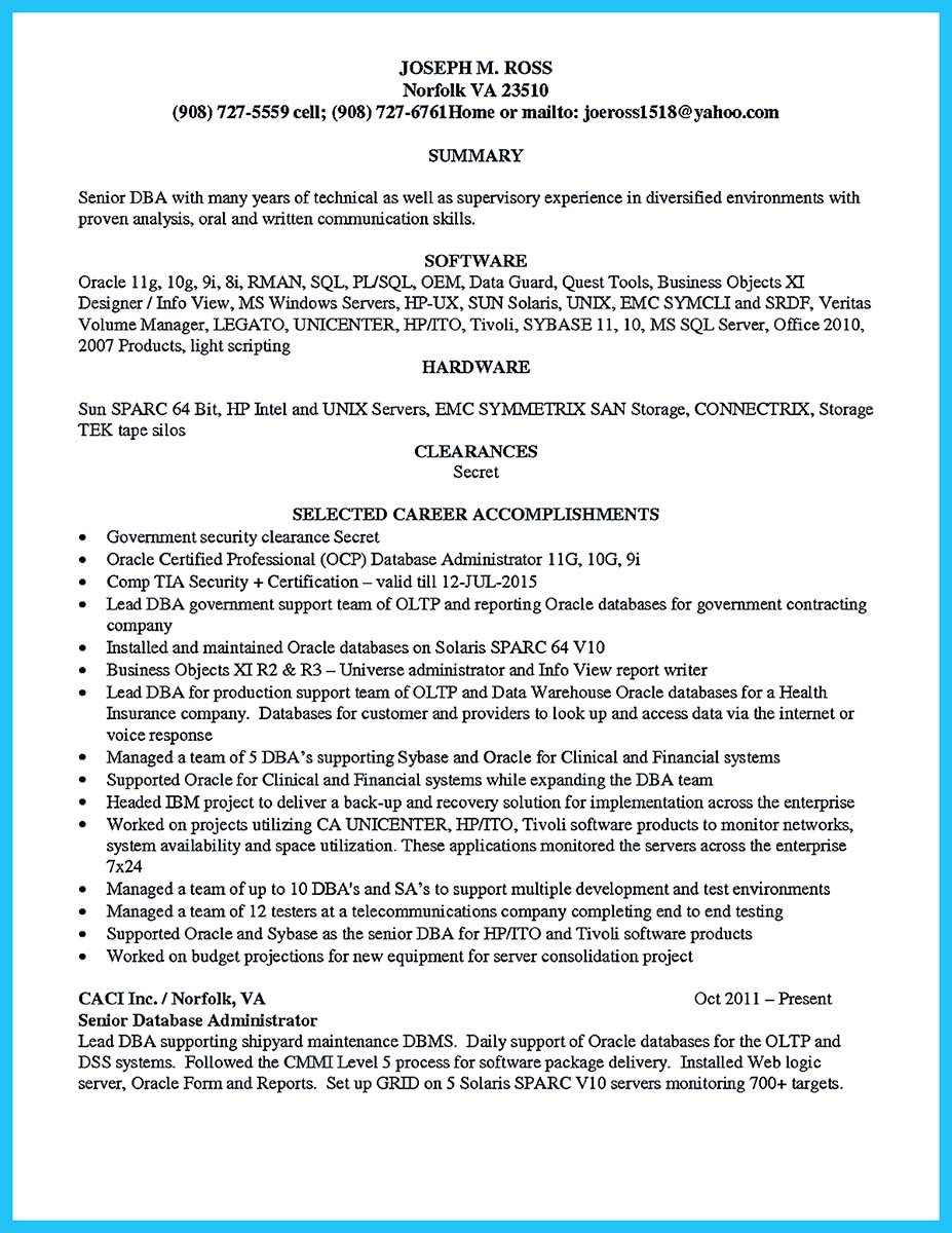 Database Administrator Resume Examples - Examples of Resumes