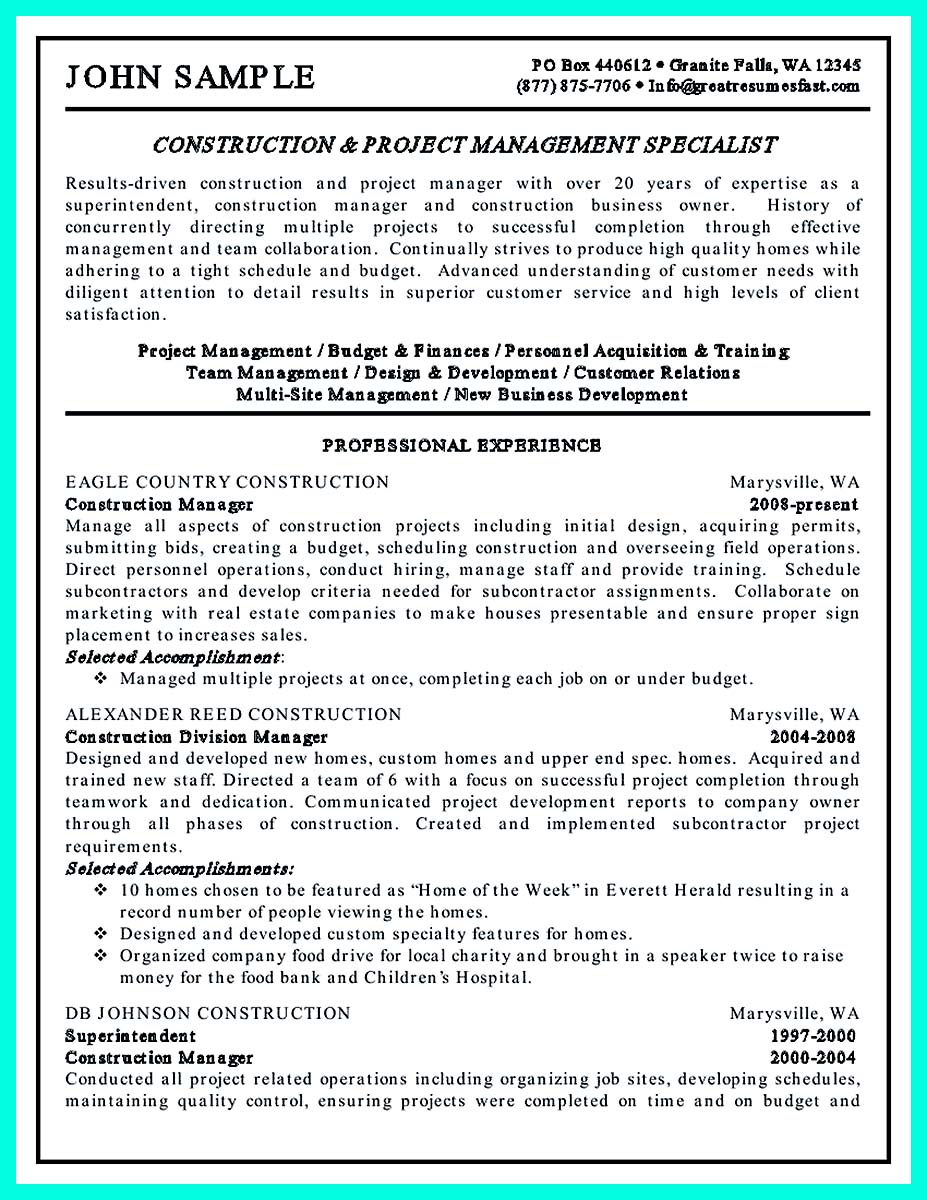 How To Write A Resume For Construction Job Create