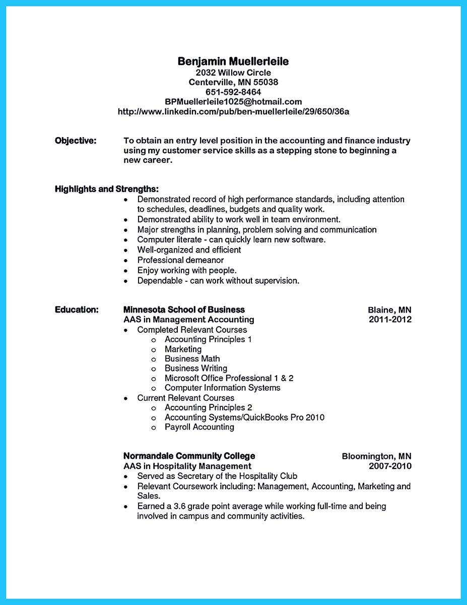 relevant coursework finance resume