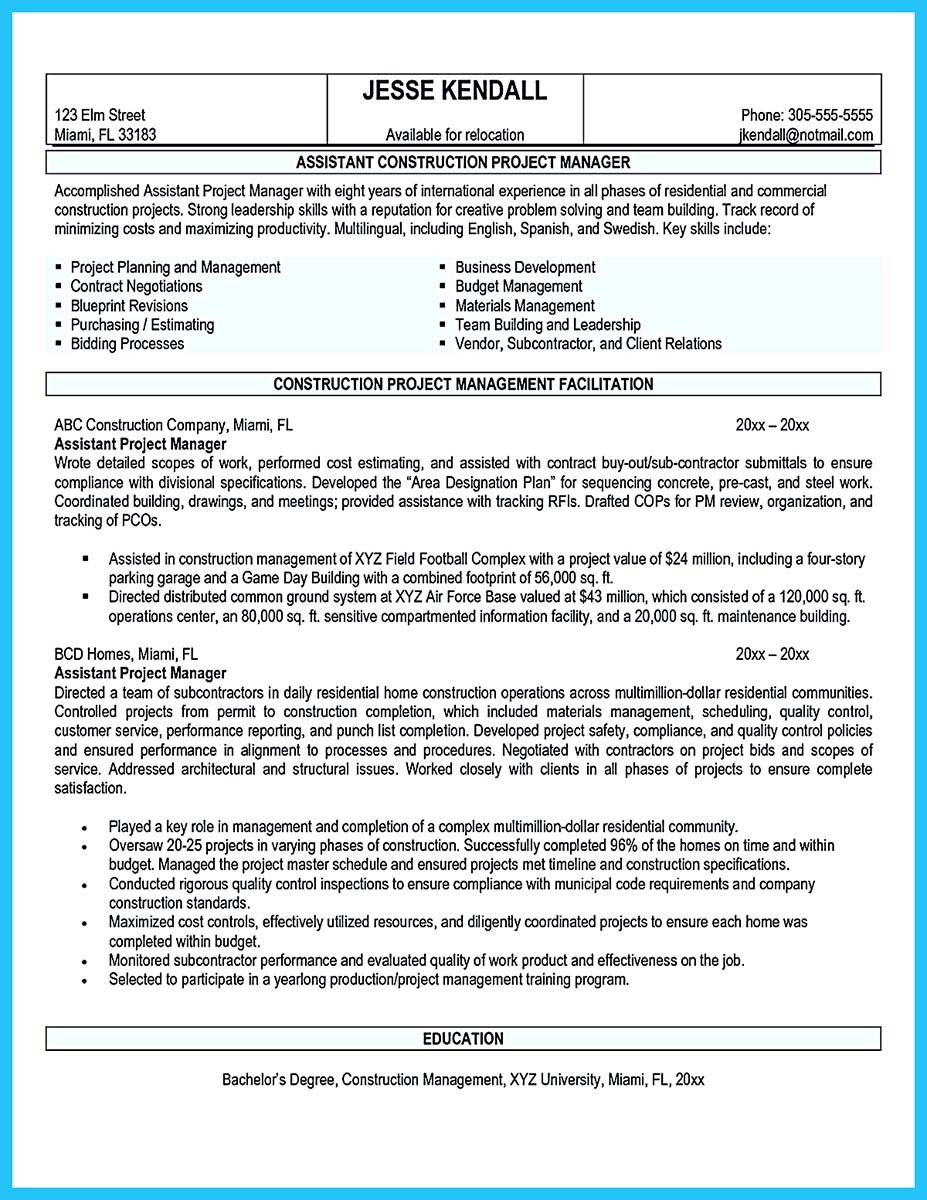 sample resumes of construction managers