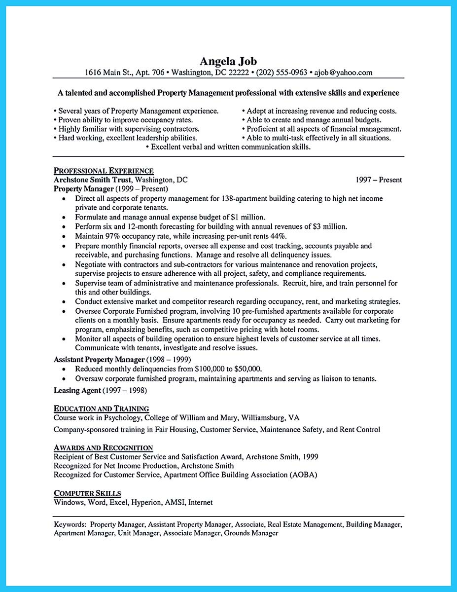 estate manager resume template