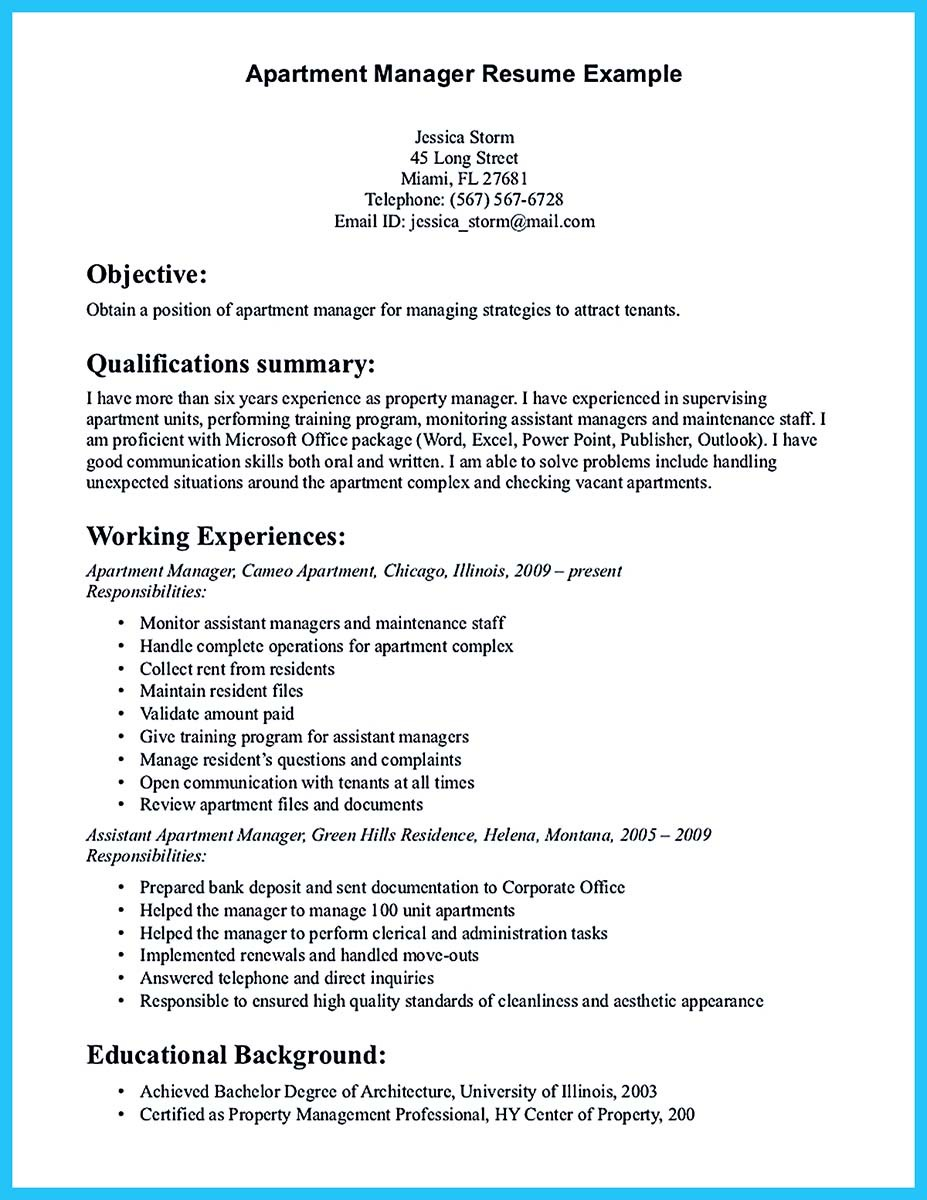 resume cover letter property manager
