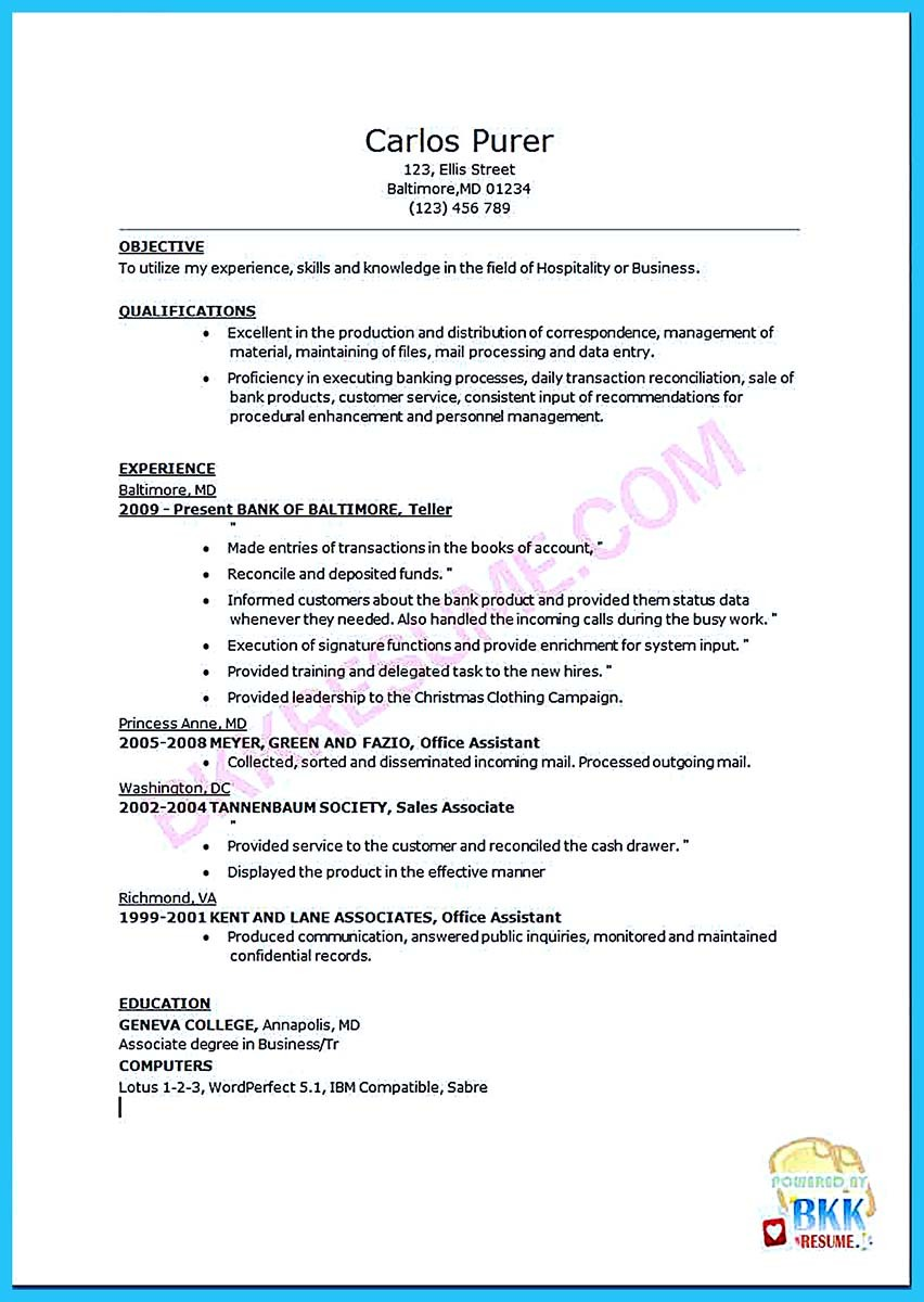Learning To Write From A Concise Bank Teller Resume Sample  Resume Bank Teller