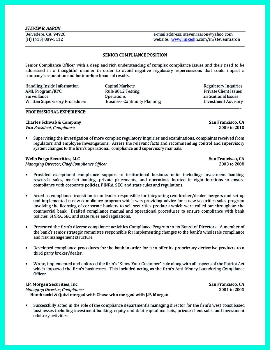 Bank Risk Manager Cover Letter Best Compliance Officer Resume To Get Manager S Attention