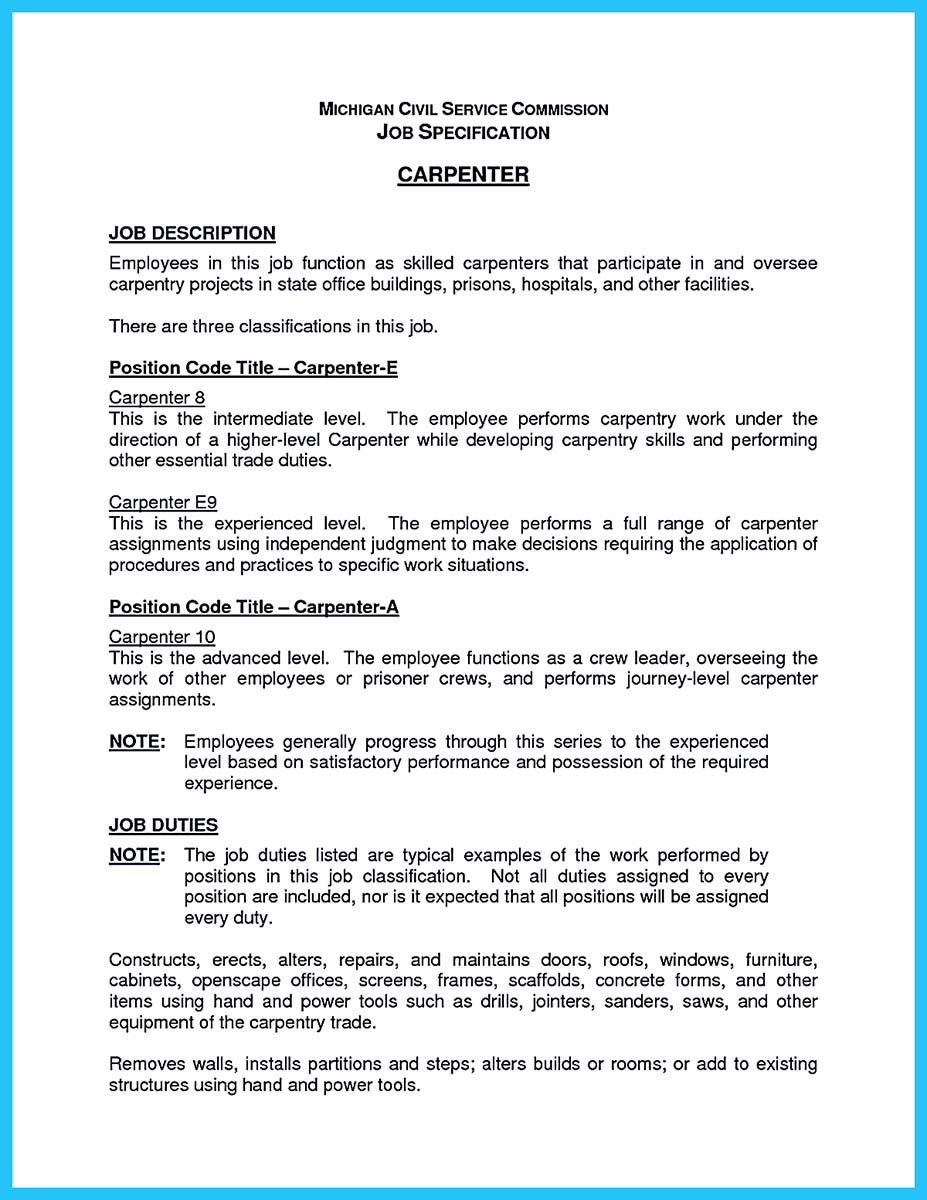 Carpenter description resume  facebookthesiswebfc2com