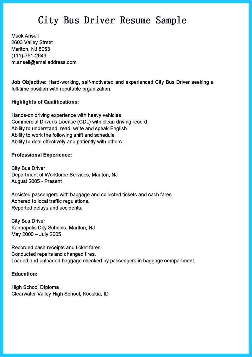sample resume for a school bus driver