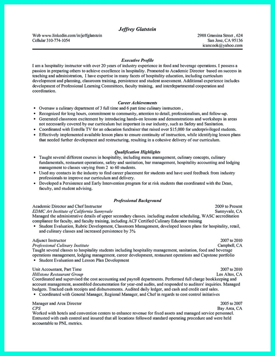 Sous Chef Resume Examples