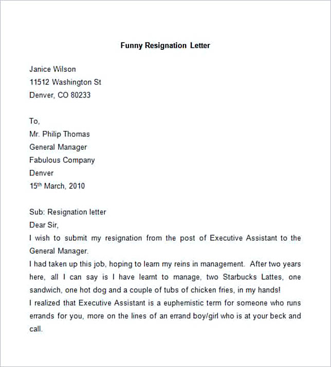 samples of letters of resignation