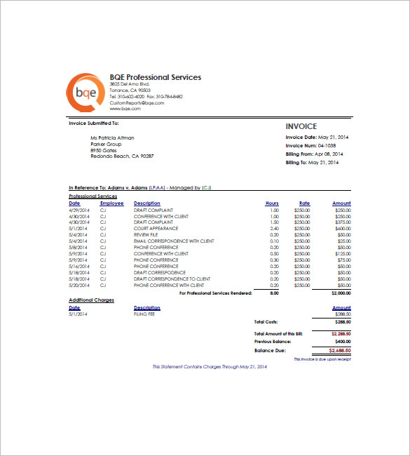 5 Hourly Invoice Template with Further Description