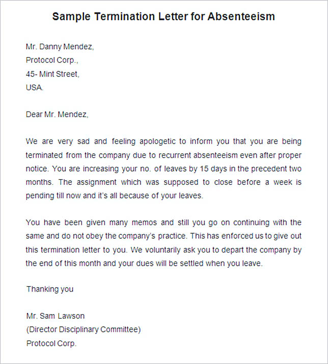 17 Termination Letter Template