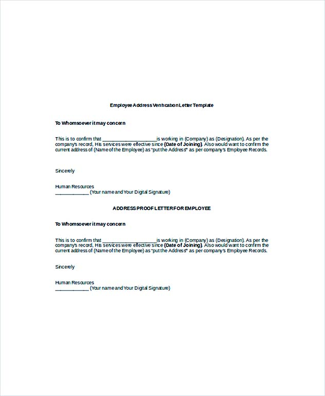 sample letter of verification of employment